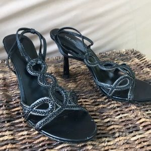 "Splash 4"" Black Strappy Heels"